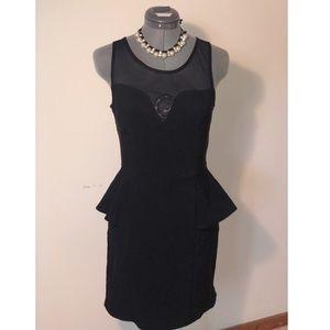 Peplum Sweetheart Black Mesh Sleeveless Dress
